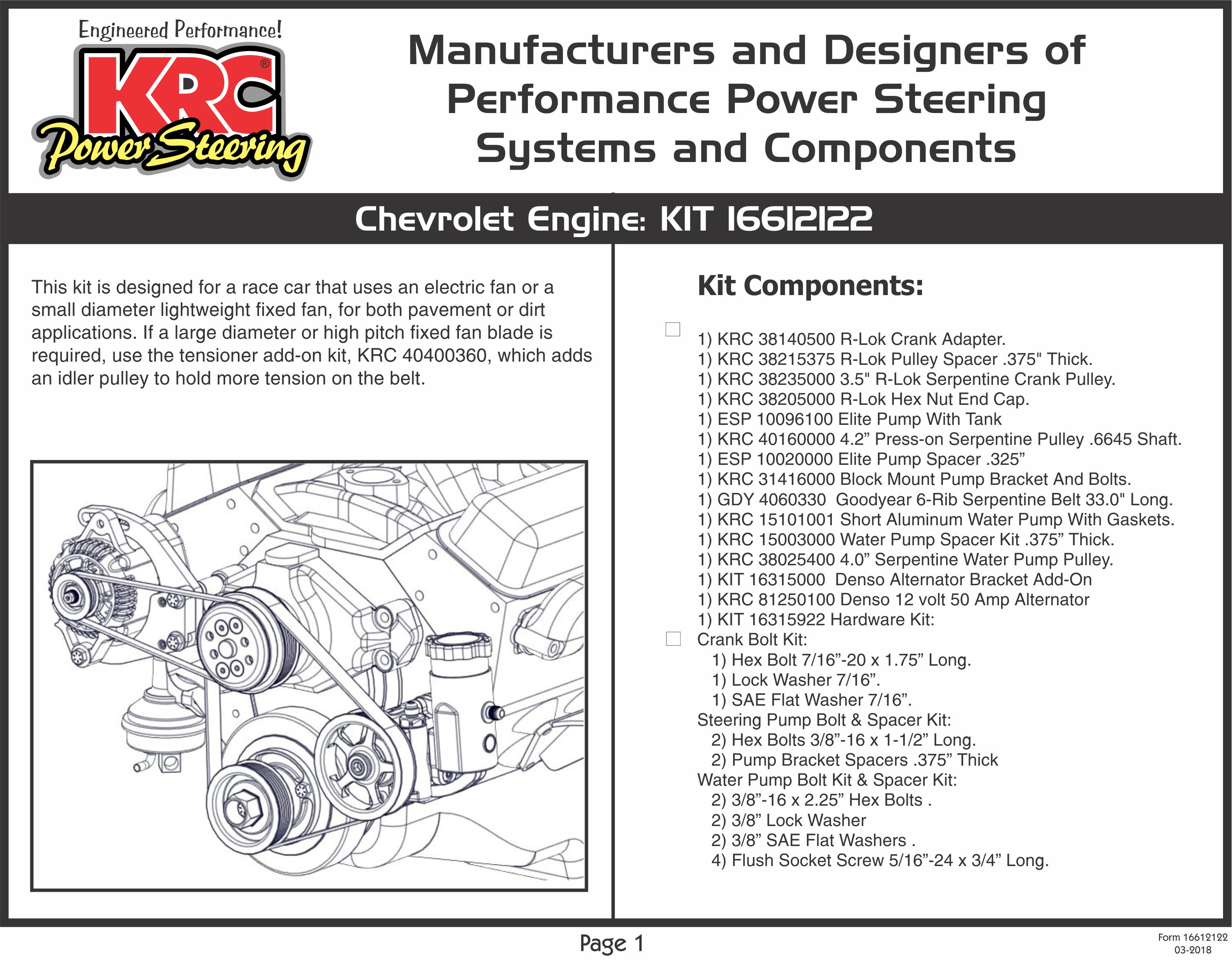 Krc Power Steering Instructions Pics Photos Parts Detail Diagram For Alternator Bracket Complete Engine Kit